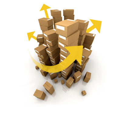 Stacks of boxes with arrows interlaced indicating movement in various directions