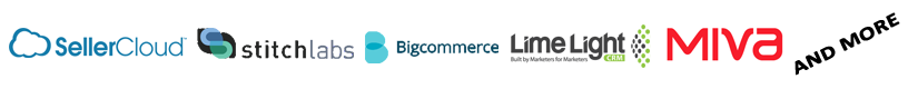 Ecommerce Integrations include Seller Cloud, Stitch Labs, Big Commerce, Lime Light, and Miva
